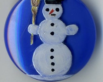 Hand painted Czech glass button blue with snowman  - size 12, 27 mm FCB  1150