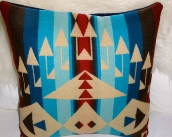 o Handcrafted Wool Pillow Cover Native American Style Pendleton Wool Fabric