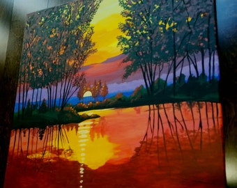 Clearance Sale! Large vibrant landscape sunset on a lake brush and knife painting by Pamela Henry colorful radiant stunning reds blues fall