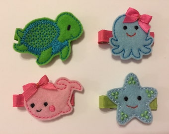 Sea Life Animals Clippies - Pink Whale - Star Fish- Turtle - Octopus - Embroidered Felt Clippies -