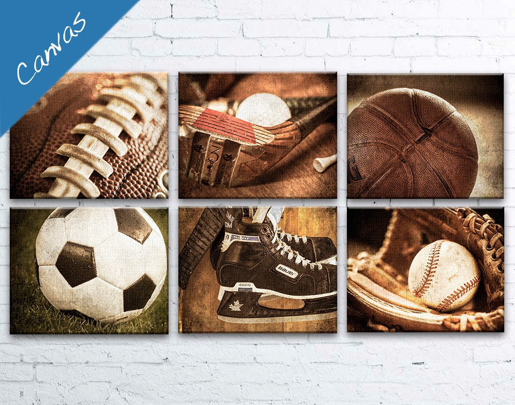 Sports Decor Sports Boys Room Vintage Sports Decor Man Cave