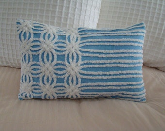 "REDUCED PRICE-Blue And White Ring And Striped Chenille Lumbar Pillow Cover for 12"" x 18"" Pillow Insert Was 30.00 Now 20.00"