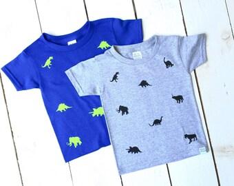 DINOSAUR Print Tshirt Unisex Boys Infant Toddler Jurassic Lovers Trex Brontosaurus Stegosaurus