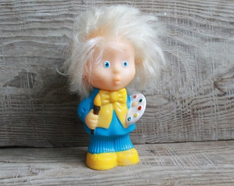 collectible toy / painter /  rubber toy ...  vintage USSR toy ... Soviet Union find ... child ... baby
