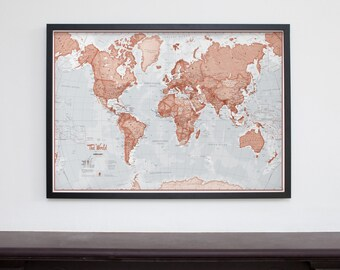 Framed 'The World is Art' Wall Map - Red