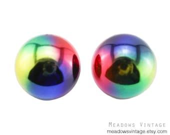 Large Rainbow Earrings, Large Rainbow Stud Earrings, Huge Colorful Stud Earrings, Large Circle Earrings