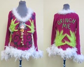 Hysterical Cute Flirty Grinch Me Pink Tacky Ugly Christmas Sweater FooFoo Feather Boa sz M  Lime Green Furry Hands Beaded Light UP