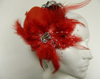 Vintage inspired red feather black lace crystal fascinator hat