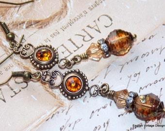 Topaz Drop Earrings, Czech Glass Earrings, Victorian Style Earrings, Boho Earrings, Dangle Earrings, Vintage Earrings, Handmade Earrings
