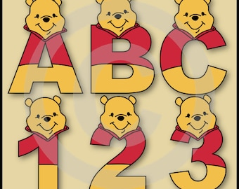 Winnie the Pooh 2 Alphabet Letters & Numbers Clip Art Graphics