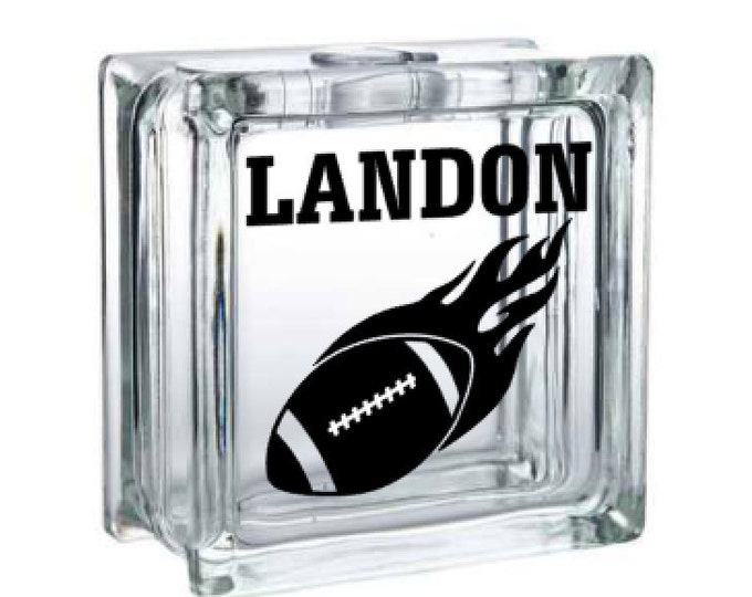 Football Flame with Name - Personalized Vinyl Decal for a DIY Glass Block, Frames, and more...Block Not Included