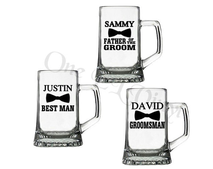 DIY Decal - Bow Tie  Wedding Party Groom, Best Man, Groomsman... Vinyl Decal for Beer Mugs, Wine Glass Wedding Decor Glass NOT Included
