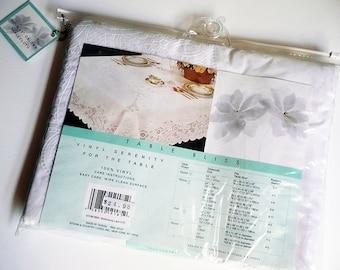 "Vintage Crochet Vinyl Tablecloth,60""x90"" Oblong,Soft Vinyl Tablecloth,White Tablecloth,Vinyl Tablecloth,Batterburg Lace Tablecloth"