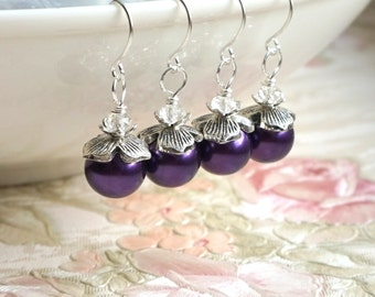 Purple Bridesmaid Jewelry Earrings Dark Purple Earrings, Bridesmaid gift Earrings, Purple Wedding Bridesmaid Jewelry Wedding Gift Under 10