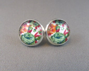 Stud Earrings - Cabbage Roses Glass Cabochon