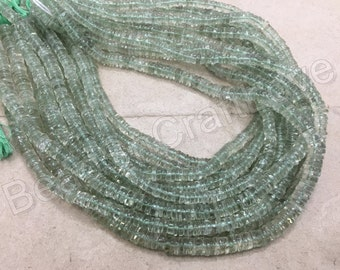 Green Amethyst Tyre or wheel shaped  Smooth or plain Beads, approx 5 mm, 100 pieces   AAA quality