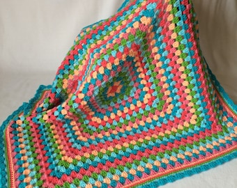 Baby Girl/Toddler/Child Crochet Blanket - Crib/Throw Size Blanket - Granny Square - Cheerfull Colors - READY TO SHIP