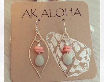 Coral Earrings, Gemstone Earrings, Aventurine, Silver Coral Earrings
