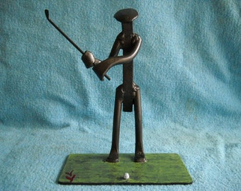 Railroad Spike Sculpture, Golfer in Swing Stance