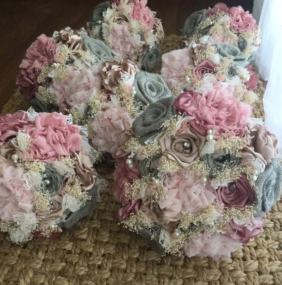 shabby chic wedding flowers shabby chic bridal and bridesmaids bouquets 7312