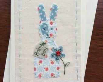 Baby bunny boy card