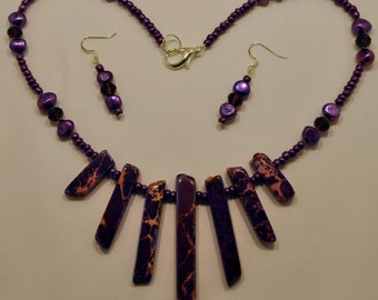 Purple magnesite statement necklace and earring set