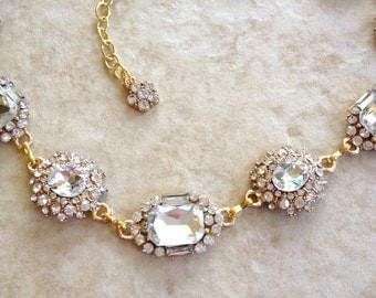Crystal and gold bridal necklace, rhinestone, jewelry, bridesmaid, link necklace, choker, statement, bridal, glamorous, crystal, gold
