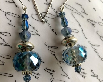 Blue crystal earrings with surgical steel ear wires