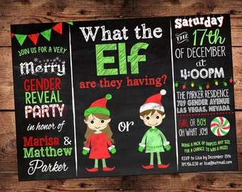 The ORIGINAL What the Elf are they having - Gender Reveal Invitation - Holiday Gender Reveal - Team Pink or Blue - Digital