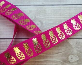 5/8 inch AZALEA PINEAPPLE grosgrain ribbon