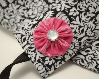 Ready to Ship! Black and White Damask with Dark Pink Flower - DSLR Camera Strap Cover with Monogram Option