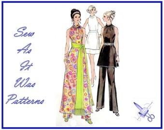 1970s Vogue 7810 Unused Evening Sleeveless Tunic Maxi Mini Cutaway Dress Tie Sash Skirt & Pants Vintage Sewing Pattern Size 10 Bust 32