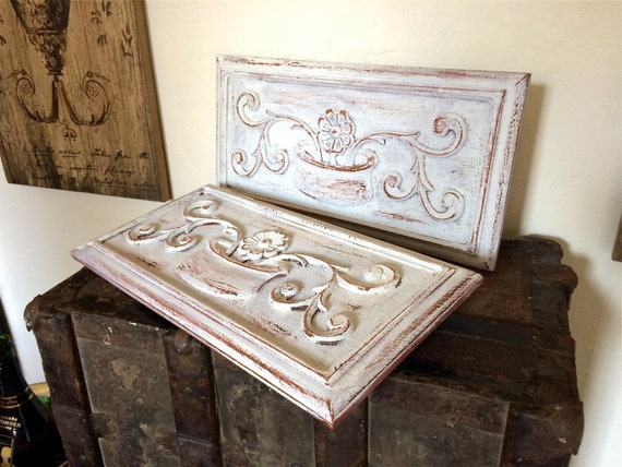 Pair Of French Vintage Painted Wall Panels In Wood Distressed