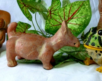 Aztec Colima Terracotta Dog Pre-Columbian Mayan Pottery Figurine Statue, Mythical Chupacabras of Mexico