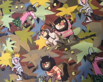 Where the Wild Things Are Fabric Yardage- Inspired by Max and his Monsters -Very Rare Fat Quarter Yard 18x21