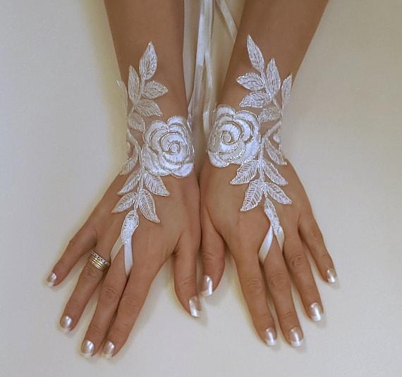 gants de mari e gant ivoire argent brod dentelle gants. Black Bedroom Furniture Sets. Home Design Ideas