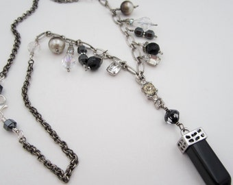 Black Dagger Necklace, Sterling Silver Necklace, Black and Silver,  Y Necklace