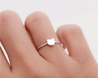 Tiny cat ring / sterling silver / gold vermeil / rose gold plated ring - Delicate simple everyday jewelry