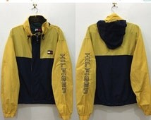 Vintage 90's Tommy Hilfiger Yellow Windbreaker Sweater with Zipper and Button Size L #J156