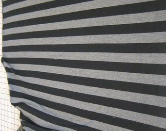 2 Yd Black and gray stripe 1-way stretch cotton lycra knit