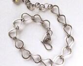 Fine silver link bracelet, handmade chain, Czech glass bead, sterling silver jewelry