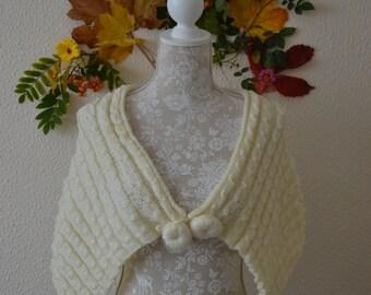 Hand Knitted Yellow Scarf ,shawl,bolero