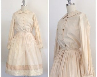 50s Cream Cotton Sophisticates Shirt Dress / 1950s Vintage Lace Long Sleeve House / Day Dress / Small / Size 4