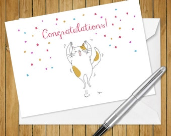 Cat Congratulation  Greeting Card (5x7 size)