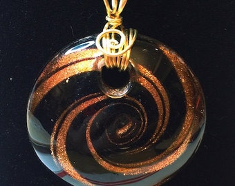 Pendant - Gold and Black Swirled Foil Glass Bead Pendant with Gold Wire Wrapped Bail - FREE SHIPPING