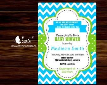 Blue and Green Chevron Baby Shower Invitation