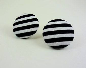 Black and White Stripe Fabric Button Earrings