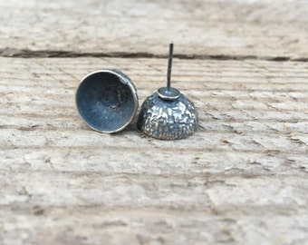 Sterling silver earrings with acorn shell