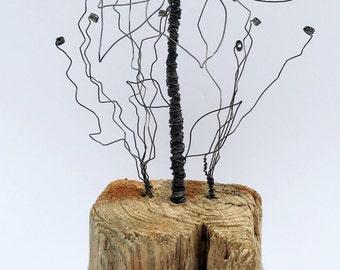 Handmade wire flowers; hand twisted wire art, wire flowers, star gazer lilly, driftwood art , Driftwood sculpture, Rustic Home, Coastal art,
