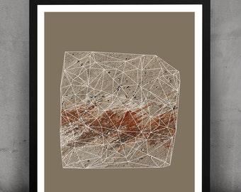 Abstract Geometric Urban Gemstone Print-Rust
